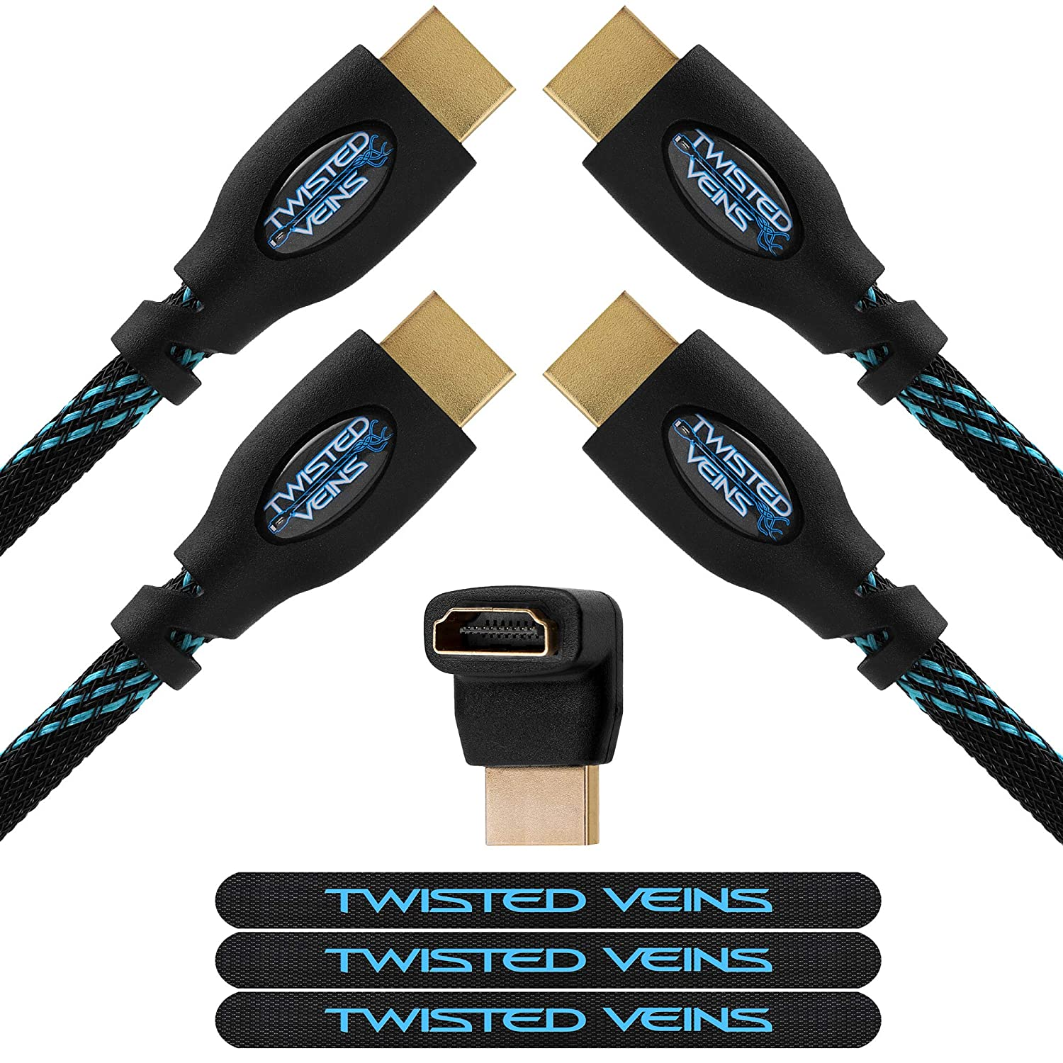 Twisted Veins (100 ft) High Speed HDMI Cable + Right Angle Adapter and Microfiber Cable Ties (Latest Version Supports Ethernet, 3D, and Audio Return) ACHB100
