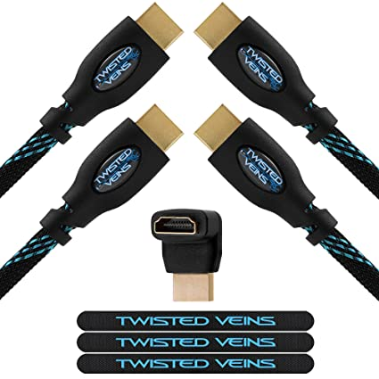 Twisted Veins HDMI Cable, 25ft, 2-Pack, Premium HDMI Cord Type High Speed  with Ethernet, Supports HDMI 2 0b 4K 60hz HDR Except With Apple TV 4K and