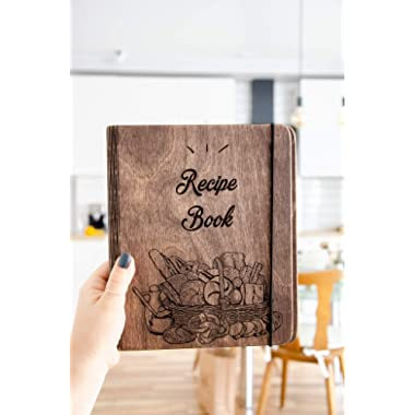 Christmas Gift Wooden Recipe Notebook with recipe pages Custom Print, Personalized Journal, Blank Sketchbook Great Gift for Girlfriend, Brother, Sister. Recipe book for great recipes By Enjoy The Wood