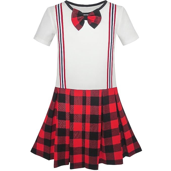 KR91 Sunny Fashion Vestido para niña Colegio Uniforme rojo Blanco Comprobar Liga Falda 4 años