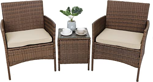 SUPER DEAL 3 Pieces All Weather Patio Conversation Furniture Set Outdoor Wicker Chairs