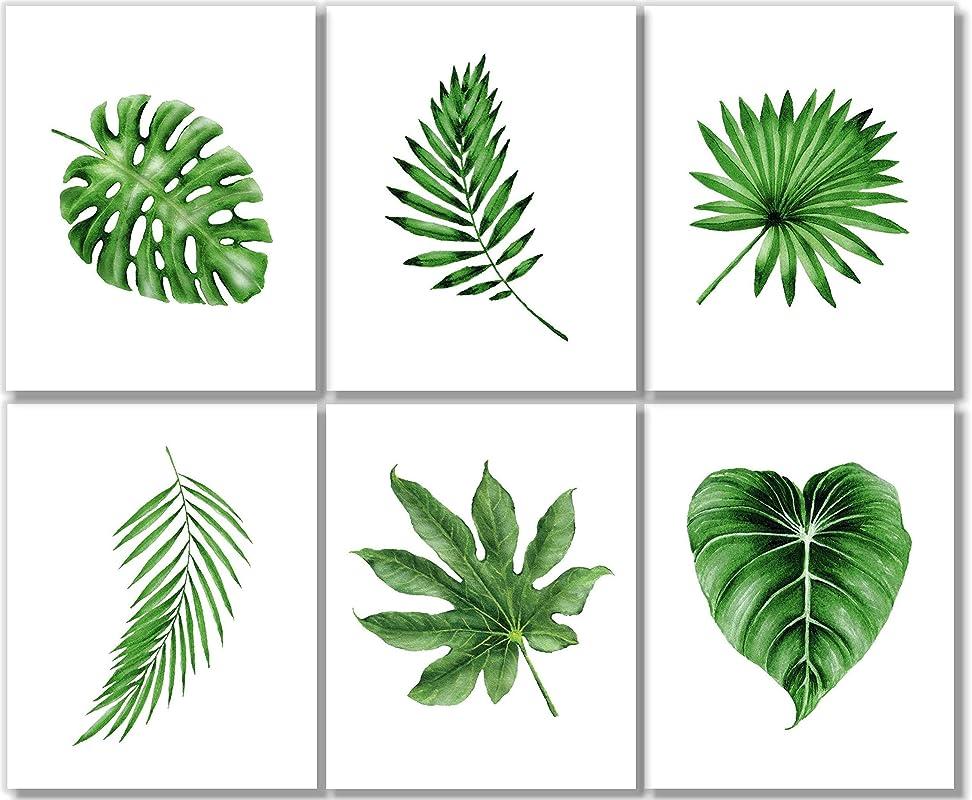 2 print set Fan Palm White on Green Tropical Leaves tropical print botanical print wall art beach house tree hawaii Tropical Decor