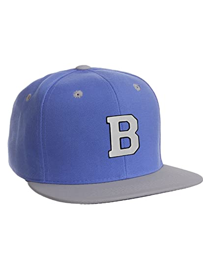 Classic Snapback Hat w Custom A-Z Initial Raised Letters - Blue Gray Hat  Black White Initial 519b2db414e