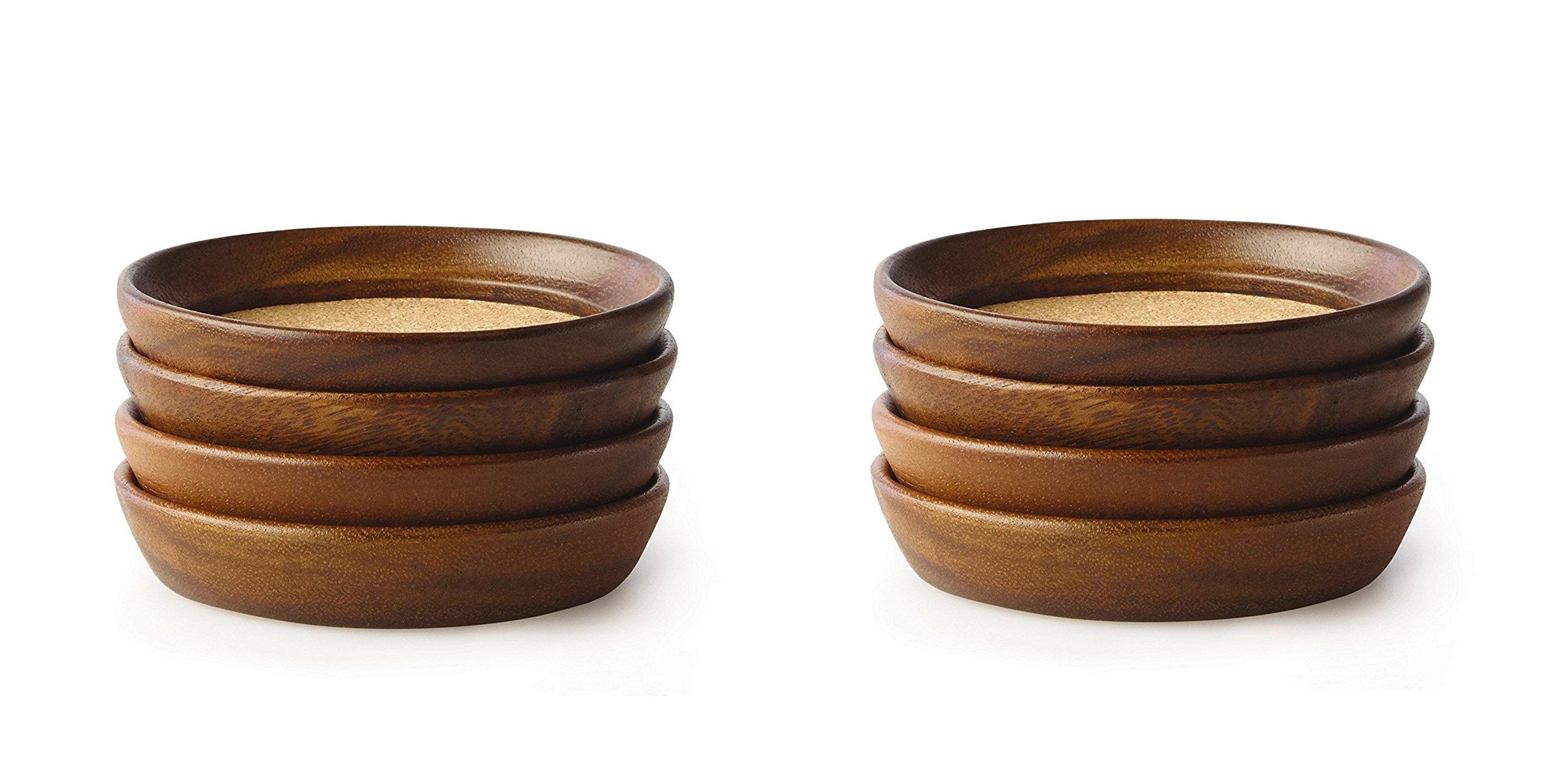 Kamenstein Acacia Wood And Cork Coaster Set, Natural (2 X Pack of 4)