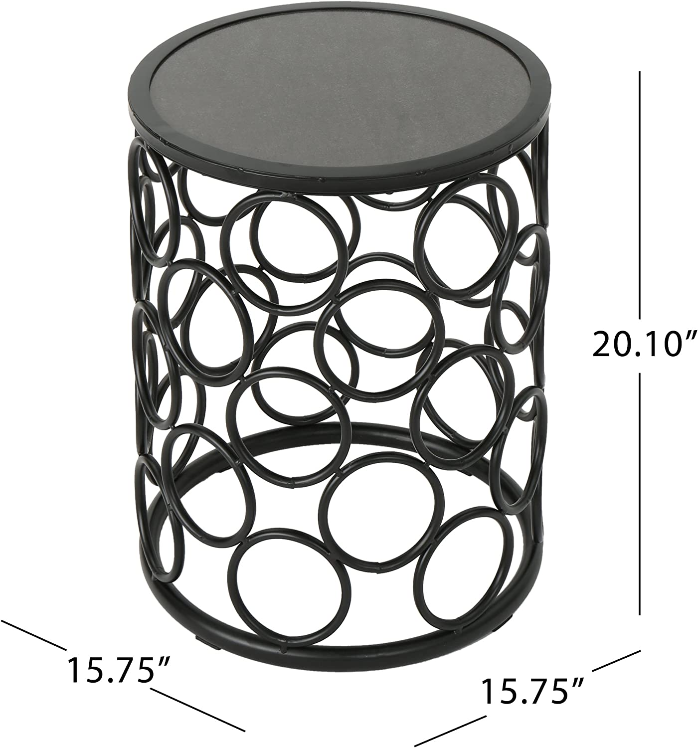 Christopher Knight Home 304216  Athena Indoor Modern 16 Inch Finish Side Table, Grey Ceramic Tile/Black Metal