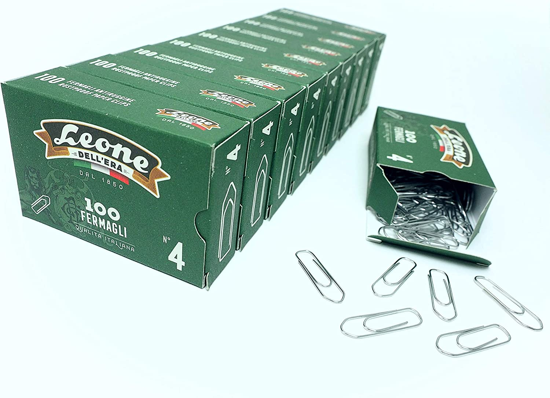 Stecca da 10 scatole da 100 pz bianco 5x500 fogli mm 32 4 - Made in Italy /& Basics Carta da stampa multiuso A4 80gsm Leone 1.000 Fermagli Zincati DellEra N