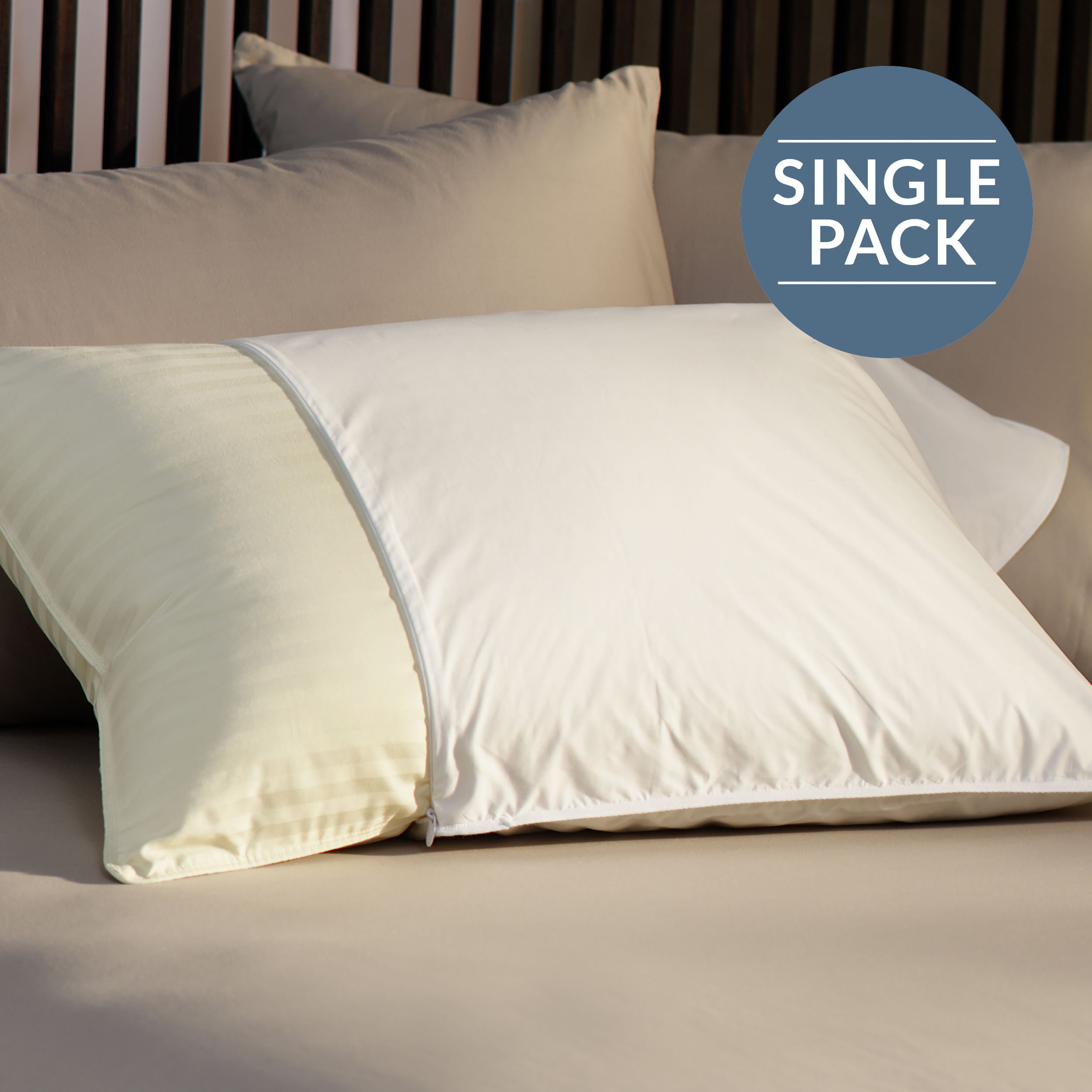 GoLinens Restful Nights Essential Pillow Protector [305 Thread Count Cotton, All-Natural Breathability, Hypoallergenic, Check Pattern, Hidden Zipper] by Pacific Coast Feather - King Size