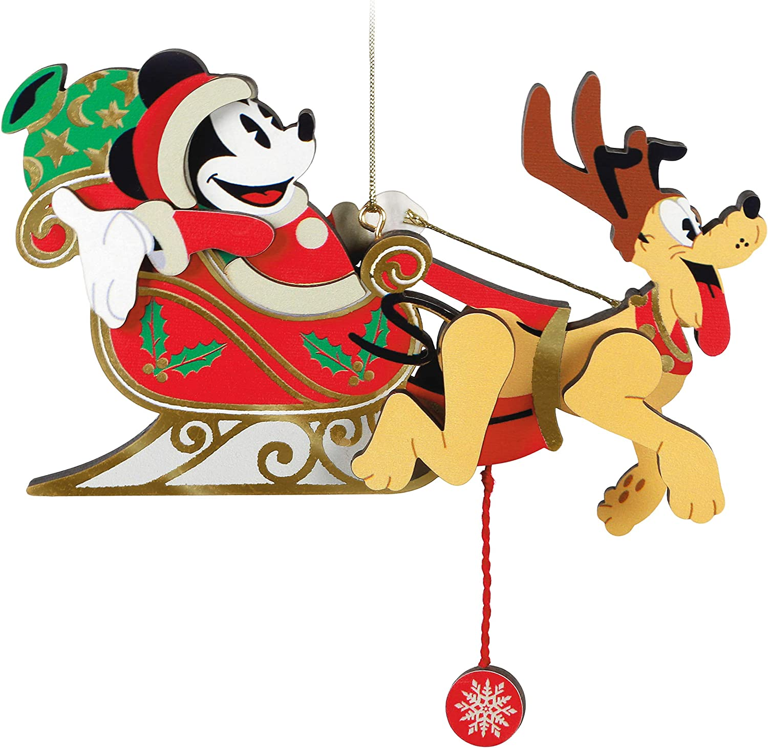 Hallmark Keepsake Christmas Ornament 2020, Disney Mickey Mouse and Pluto Oh, What Fun! Santa's Sleigh Pull-String