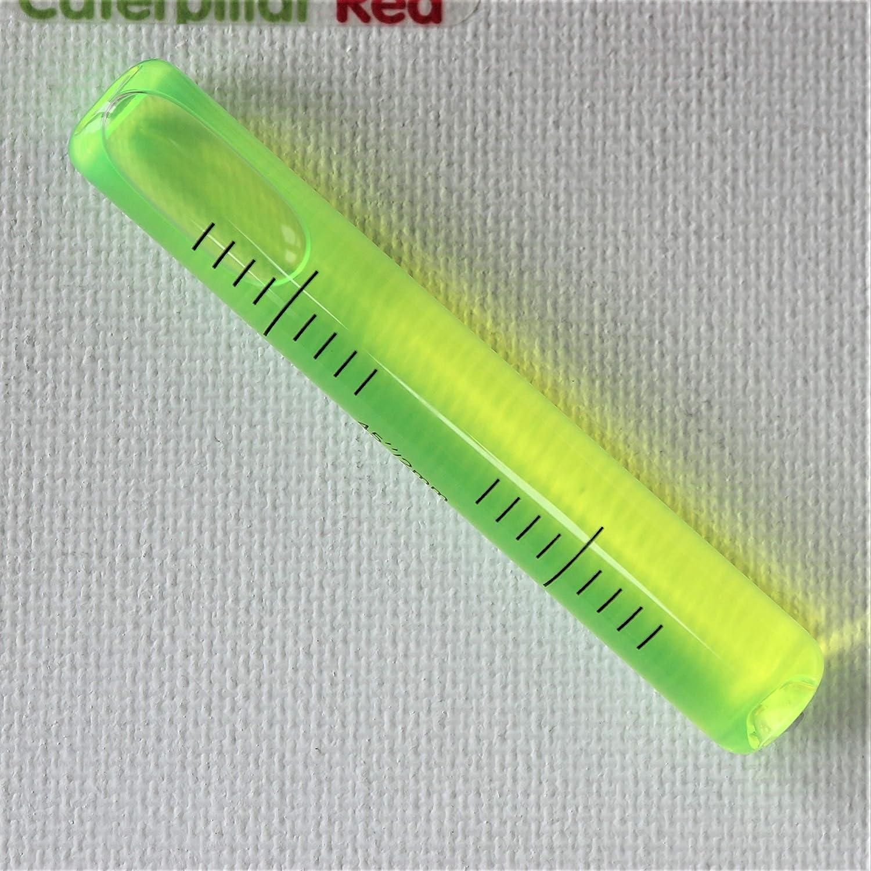 70 mm x 11 mm Fiala di vetro di ricambio per livella sensibilit/à autolivellante accurata Verde fiala a cilindro livella a bolla fiale tubolari