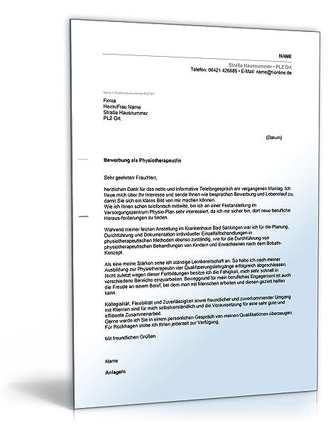 anschreiben bewerbung physiotherapeut word dokument amazonde software - Bewerbung Physiotherapeut Muster