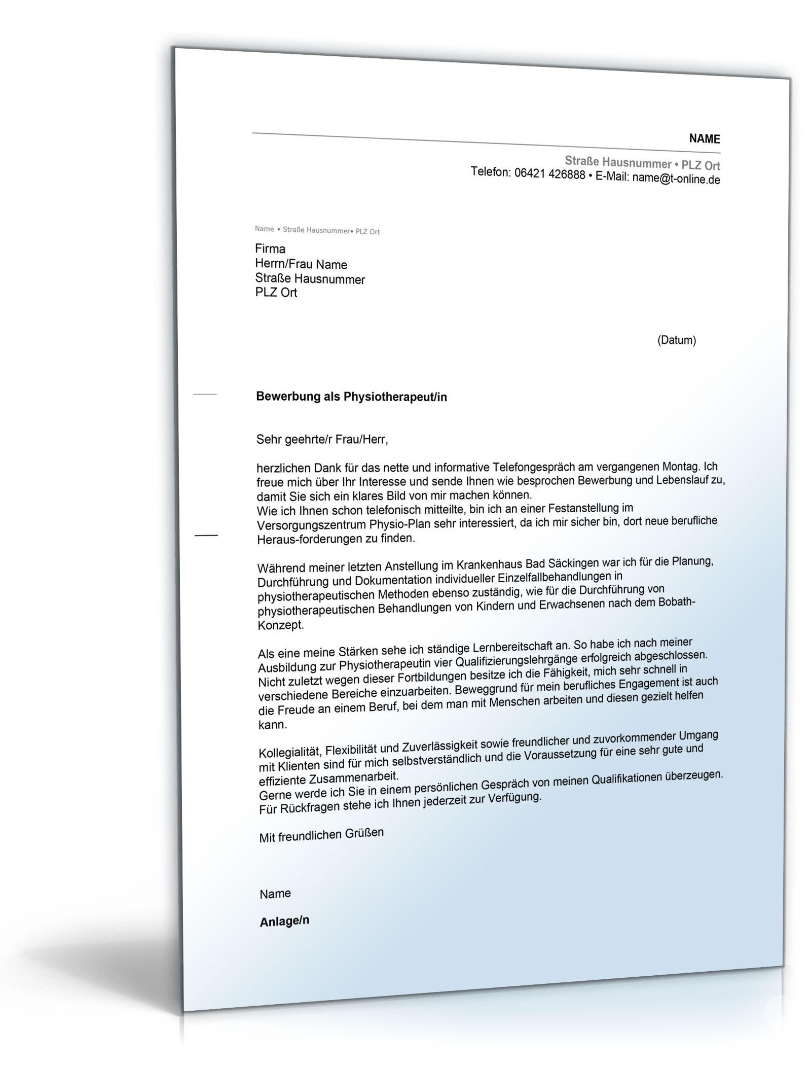 Anschreiben Bewerbung Physiotherapeut [Word Dokument]: Amazon.de ...