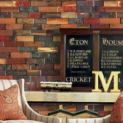 YT41 Wood Brick Wallpaper Roll RedBrown Multi Wooden Blocks