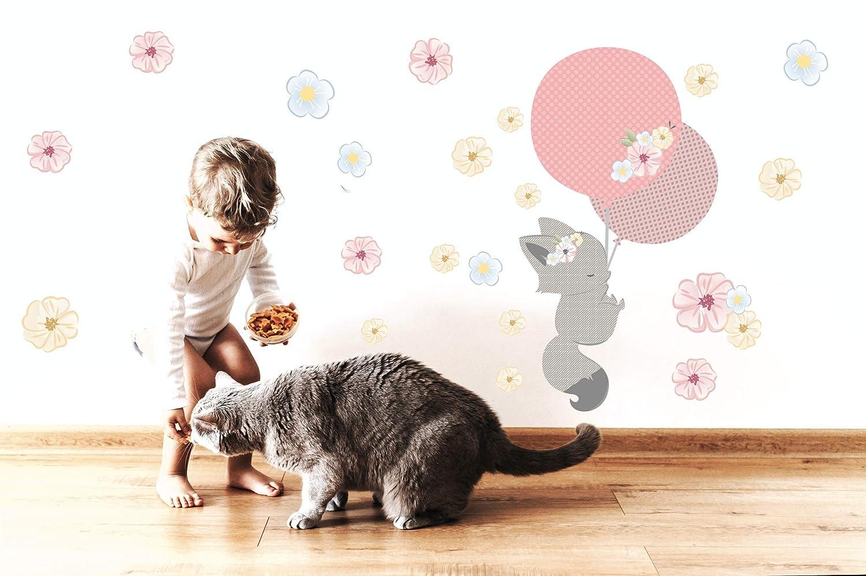 Greenluup Wandsticker Wandtattoo Heissluftballon Tiere Elefant Waldtiere Blau Grau Kinderzimmer Madchen Junge Baby Wolken 36 Wandsticker Wandfiguren