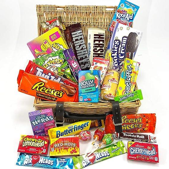 Gran cesta con American Candy | Caja de caramelos y Chucherias Americanas | Reeses Hersheys Reeses