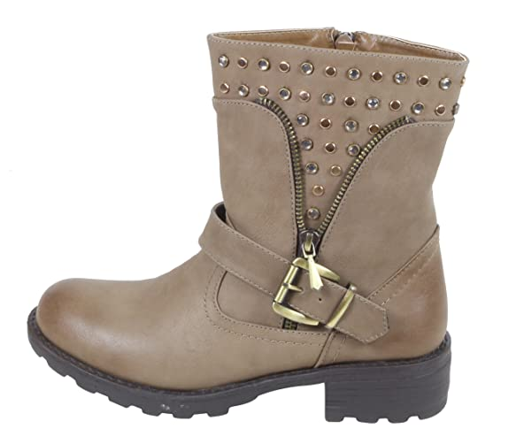 Jennika - Biker Boots de material sintético mujer, color gris, talla 38