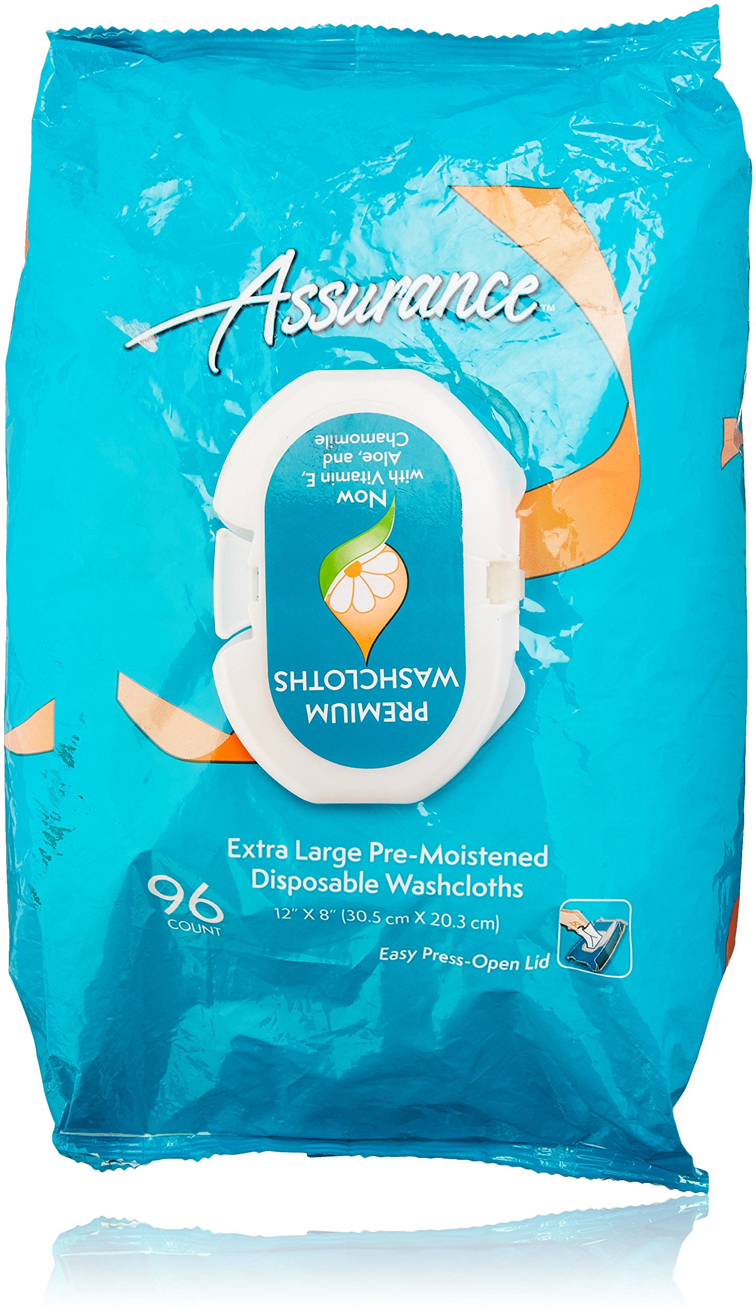 Assurance Pre-Moistened Extra Large Disposable Washcloths, 96ct