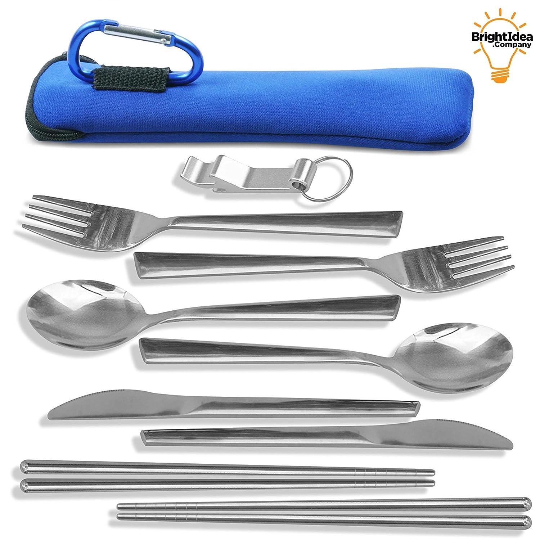 TravelSource 2 Personen Edelstahl Camping Essen Utensilien Kit + Tasche mit Karabiner zum Aufhängen, Essstäbchen & Flaschenöffner