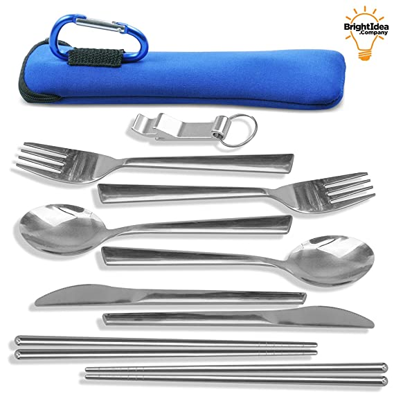 Unbreakable Camping Eating Utensils Kit - 2-Person Stainless Steel Utensils Set - Portable Mess Kit With Neoprene Case, Backpack Hanging Carabiner, Chopsticks & Bottle Opener (no straws)