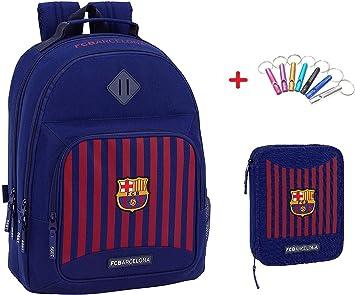 Mochila FC Barcelona Redonda con Cremallera Doble Mochila + Estuche 2 Pisos Completo + Llavero Silbato: Amazon.es: Equipaje