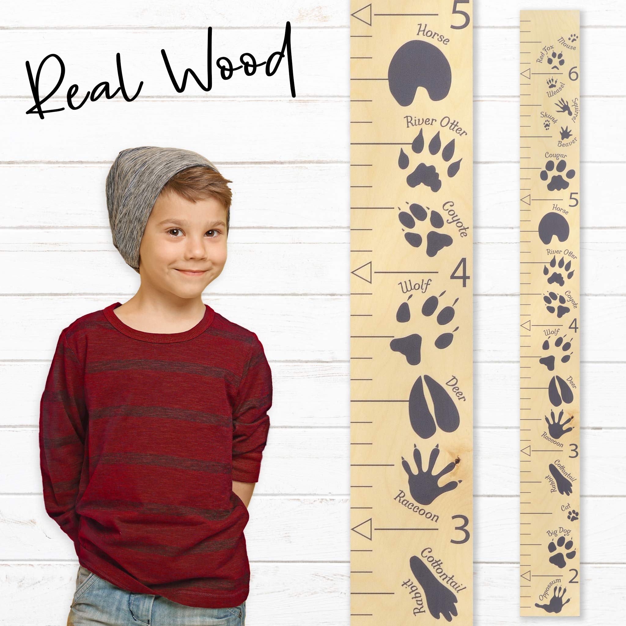 Growth Chart Art | Wooden Growth Chart Ruler for Boys | Growth Chart Ruler Kids Height Chart | Measuring Kids Height Wall Décor for Boys | Animal Tracks Gray by Growth Chart Art