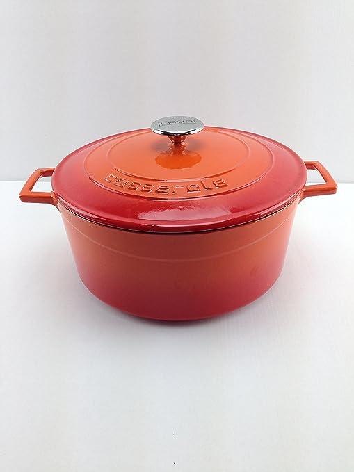 Lava Cookware Folk Hierro Fundido Esmaltada Cacerola/olla redonda, 20 cm, color naranja