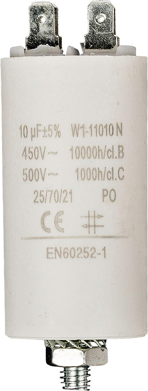 Fixapart - Condensador para motor eléctrico (capacidad 10µF +/-5%, tensión 450V, terminales, norma EN60252-1).