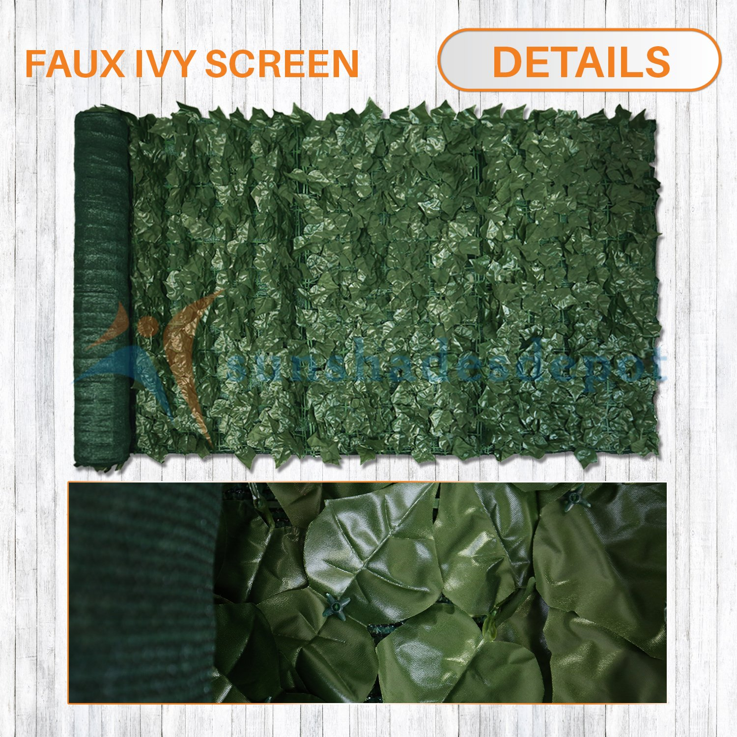 Sunshades Depot 4' x 14' Artificial Faux Ivy Privacy Fence Screen Leaf Vine Decoration Panel with Mesh Back by Sunshades Depot (Image #3)