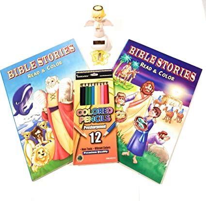 Stuff N Junk 2 Childrens Color Read Bible Stories Coloring Book Bundles Books