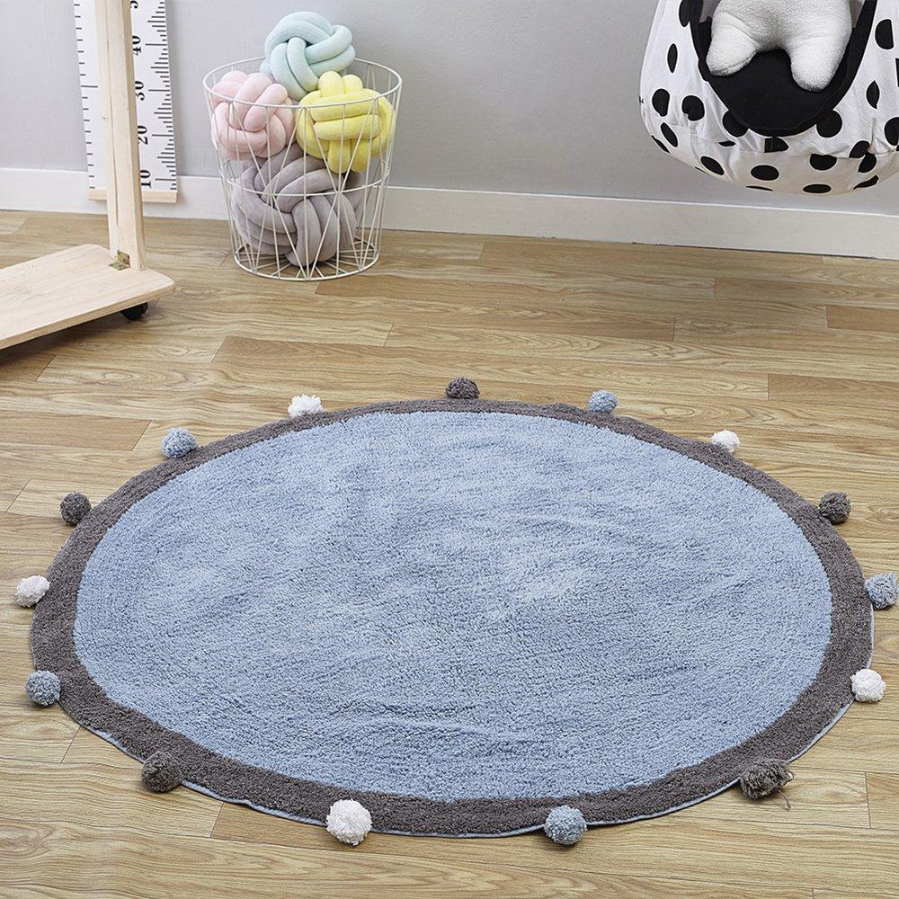 Wonder Space Alfombrilla de guardería redonda hecha a mano - alfombra de arrastre de bebé lindo, 100% algodón con diseño de pompones, mejor alfombra de juego para sala de niños y decoración de carpa (azul,gris)