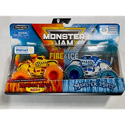 Monster Jam 2020 Fire and Ice 2-Pack 1:64, Husky and Monster Mutt: Toys & Games