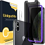 [2+2 Pack] UniqueMe Anti Spy Privacy Screen Protector and Camera Lens Protector Compatible for iPhone Xs, [Easy Installation