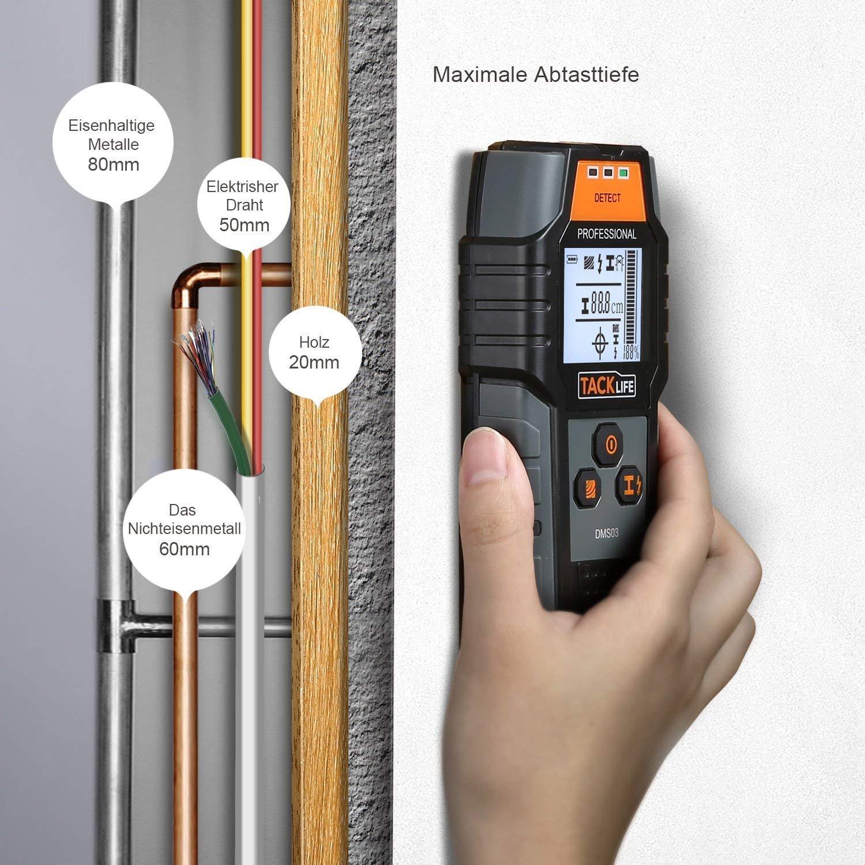 Tacklife DMS03 - Localizador, detector, detector multifuncional, retroiluminación LCD grande para metal magnético/no magnético, cable de CA, ...