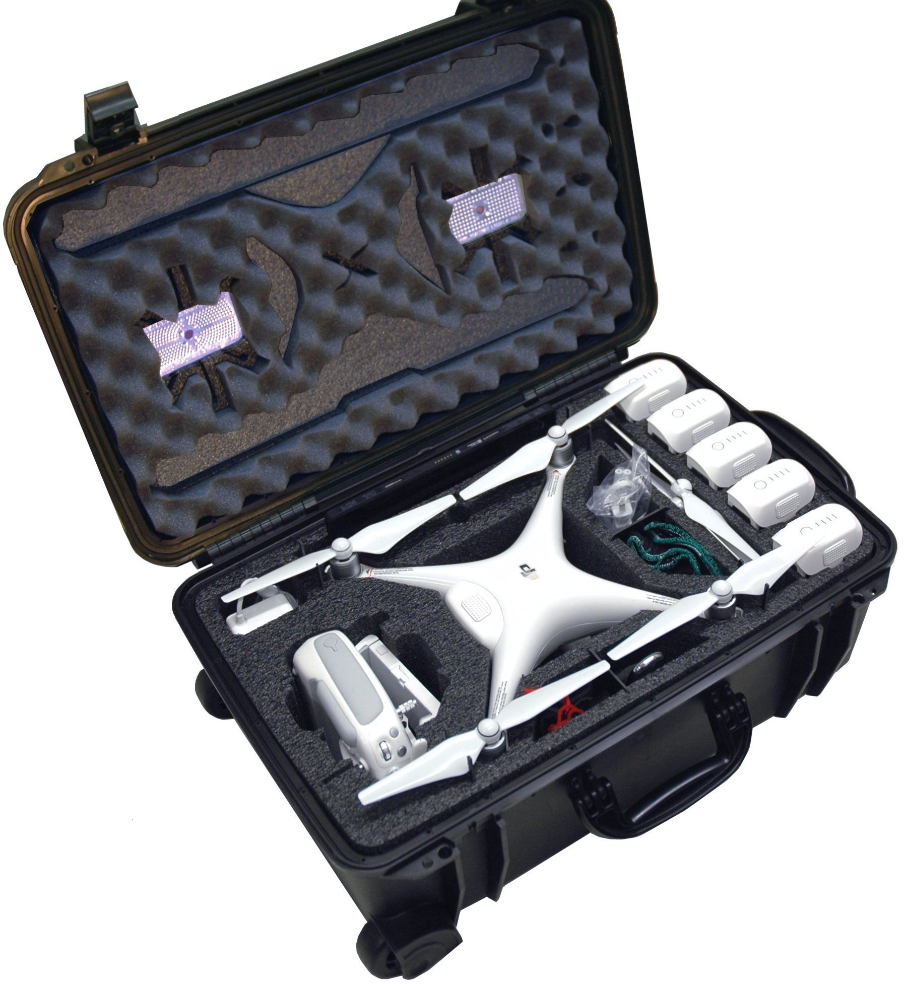 Case Club Waterproof DJI Phantom 4 Drone Wheeled Case with Silica Gel (Propellers On) by Case Club