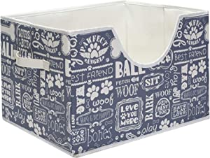 """Brabtod Paw Folding Pet Toy and Accessory Storage Bin for Home Décor, Pet Toy, Blankets, Leashes and Food in Printed """"Dog Paws""""Dog Bones"""