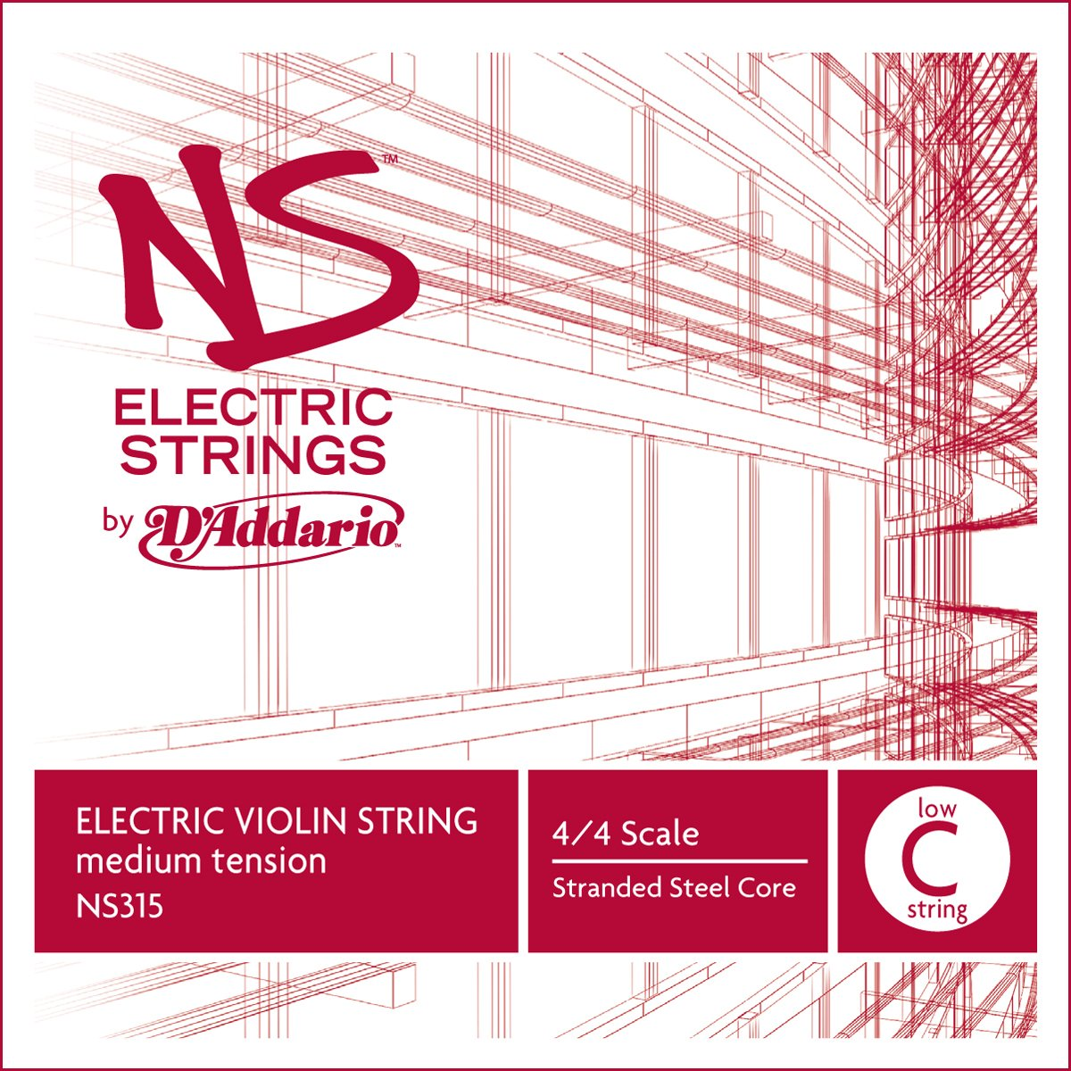 D'Addario NS Electric Violin Single Low C String, 4/4 Scale, Medium Tension D' Addario NS315
