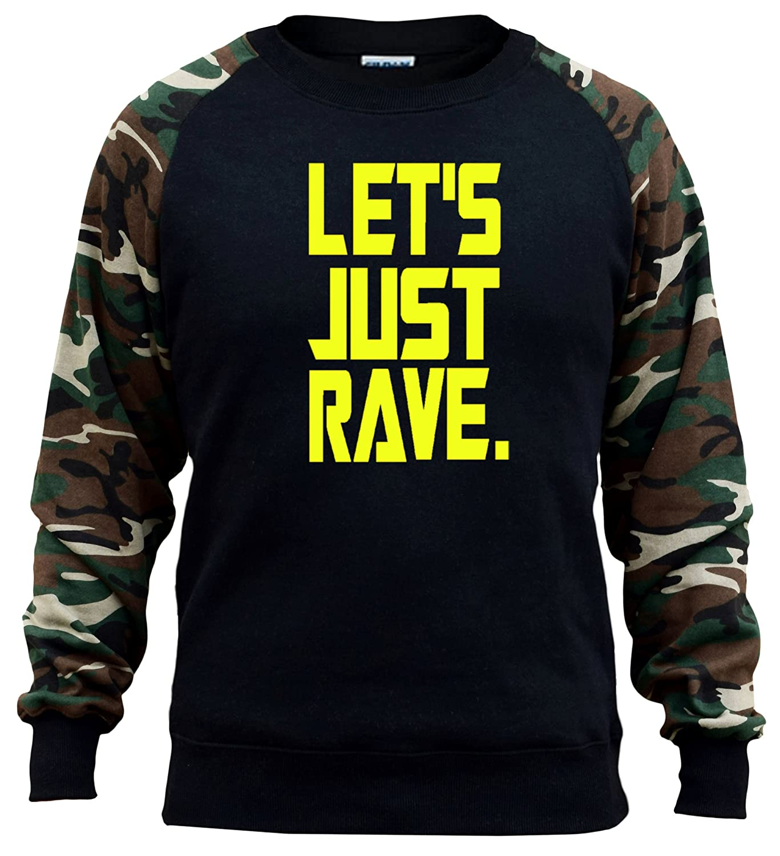 Mens Lets Just Rave V417 Black//Camo Raglan Baseball Sweatshirt Black