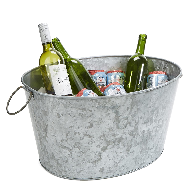 heavy duty ovale in ferro galvanizzato argento Mind Reader Ice Bucket Beverage Chiller vasca