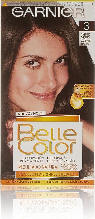 Garnier Belle Color Coloración de aspecto natural y cobertura completa de canas con aceite de jojoba y germen de trigo - Tono: Castaño Oscuro 3