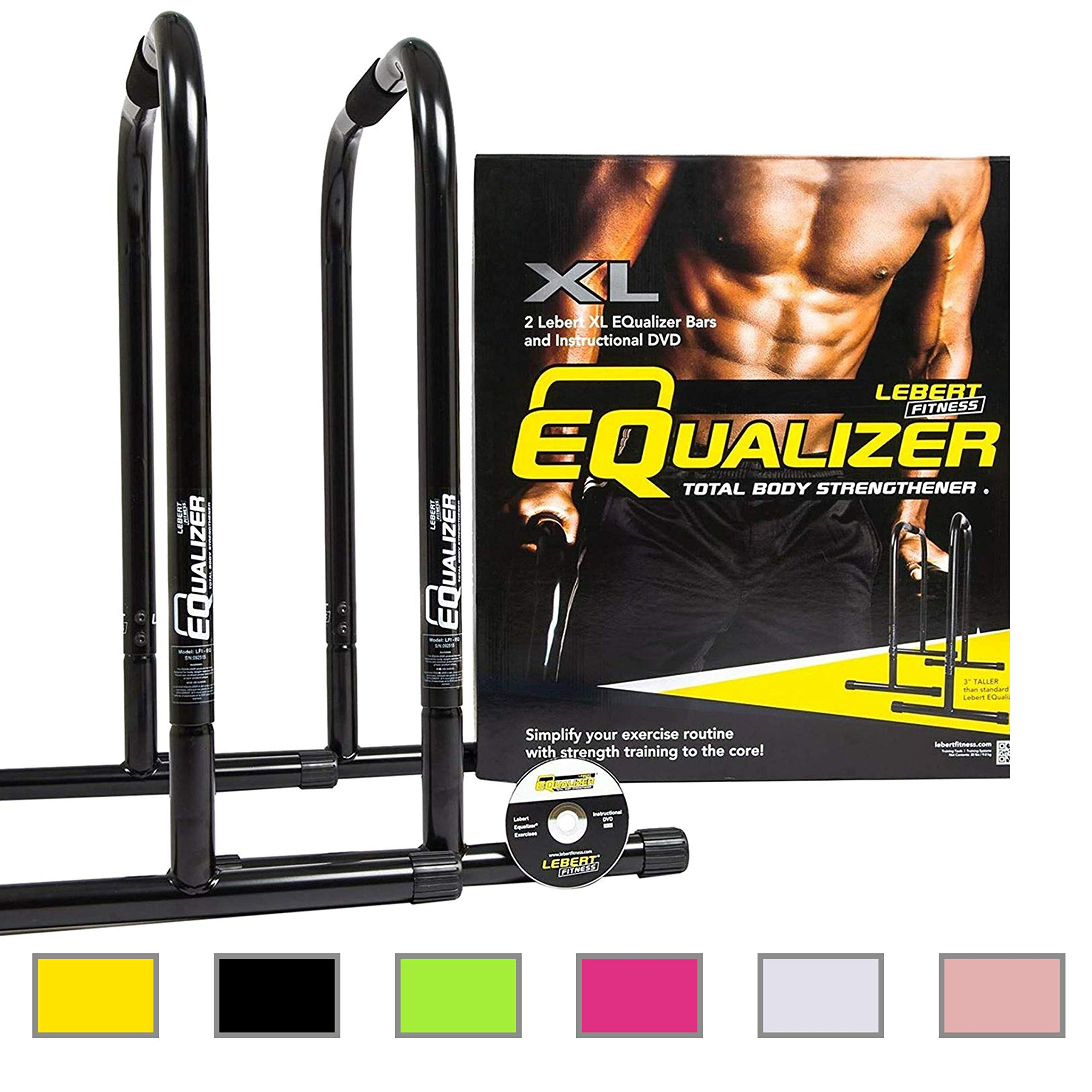 Lebert Fitness Equalizer Bars Total Body Strengthener, XL, Black