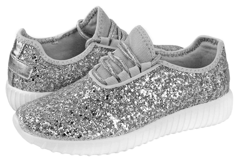 Foxy Grey Allison Womens Sneakers | Glitter Shoes for Women | Fashion Sneakers | Sparkly Shoes for Women | Casual Shoes B07CSH71ZW 6 B(M) US|Silver