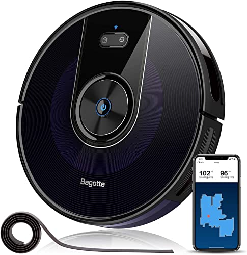 Robot Vacuum, Bagotte 2200Pa Mapping Robotic Vacuum Cleaner Wi-Fi Connectivity, 2.7 Super-Thin, Methodical Cleaning, Scheduling, Boundary Strips for Pet Hair,Hardwood Floors Carpets