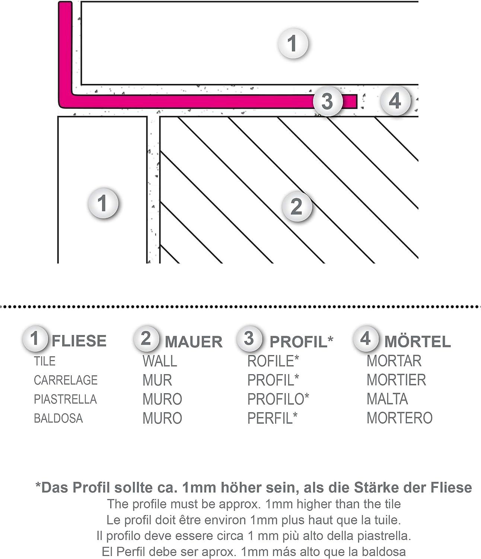 Edelstahl Geb/ürstet 25mm H/öhe Winkelprofil 10 cm Musterst/ück FUCHS Fliesenschienen MUSTER