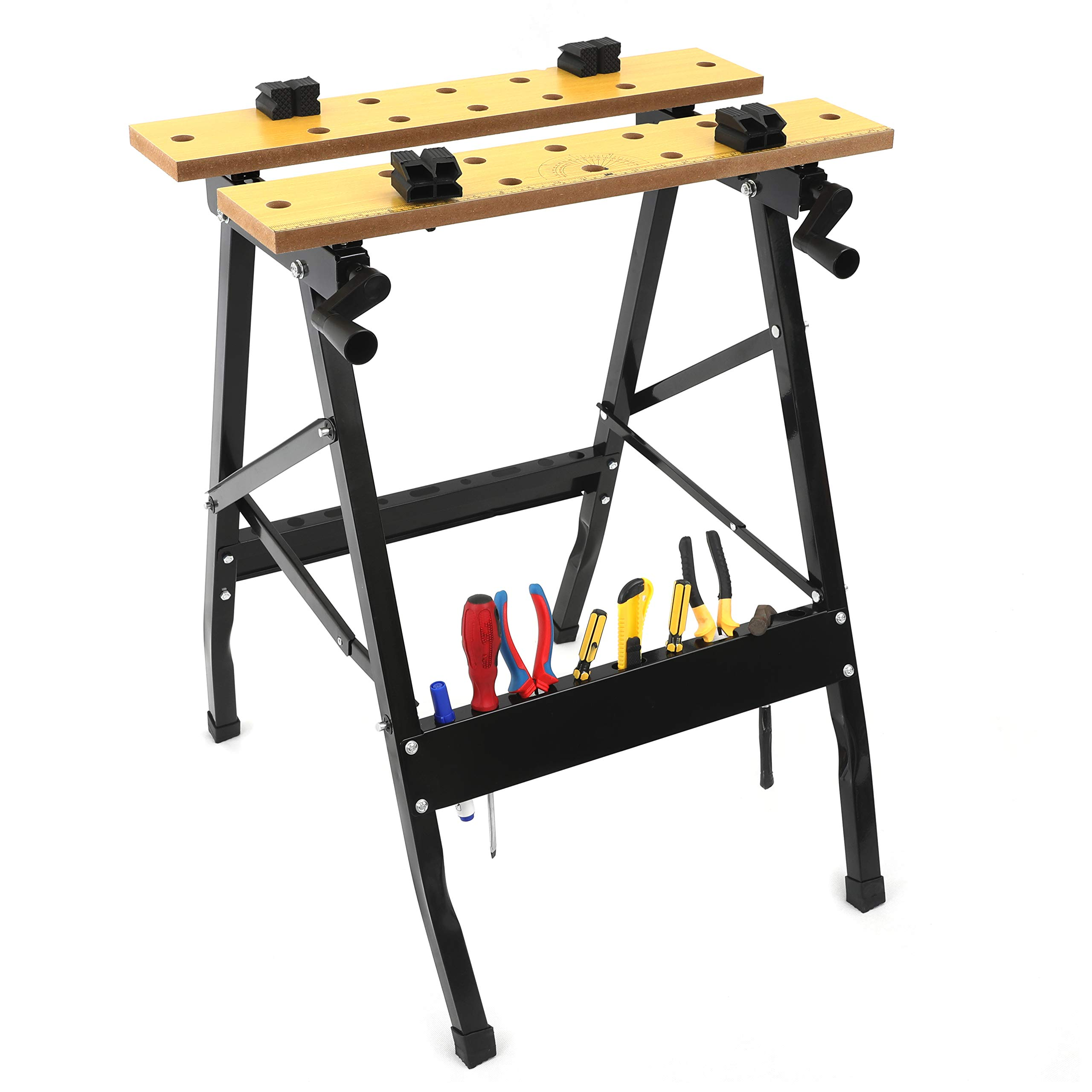 Portable Work Bench Multipurpose Folding Repair Tools Table w/Clamp Vise and Tool Holder 220 LBS Capacity