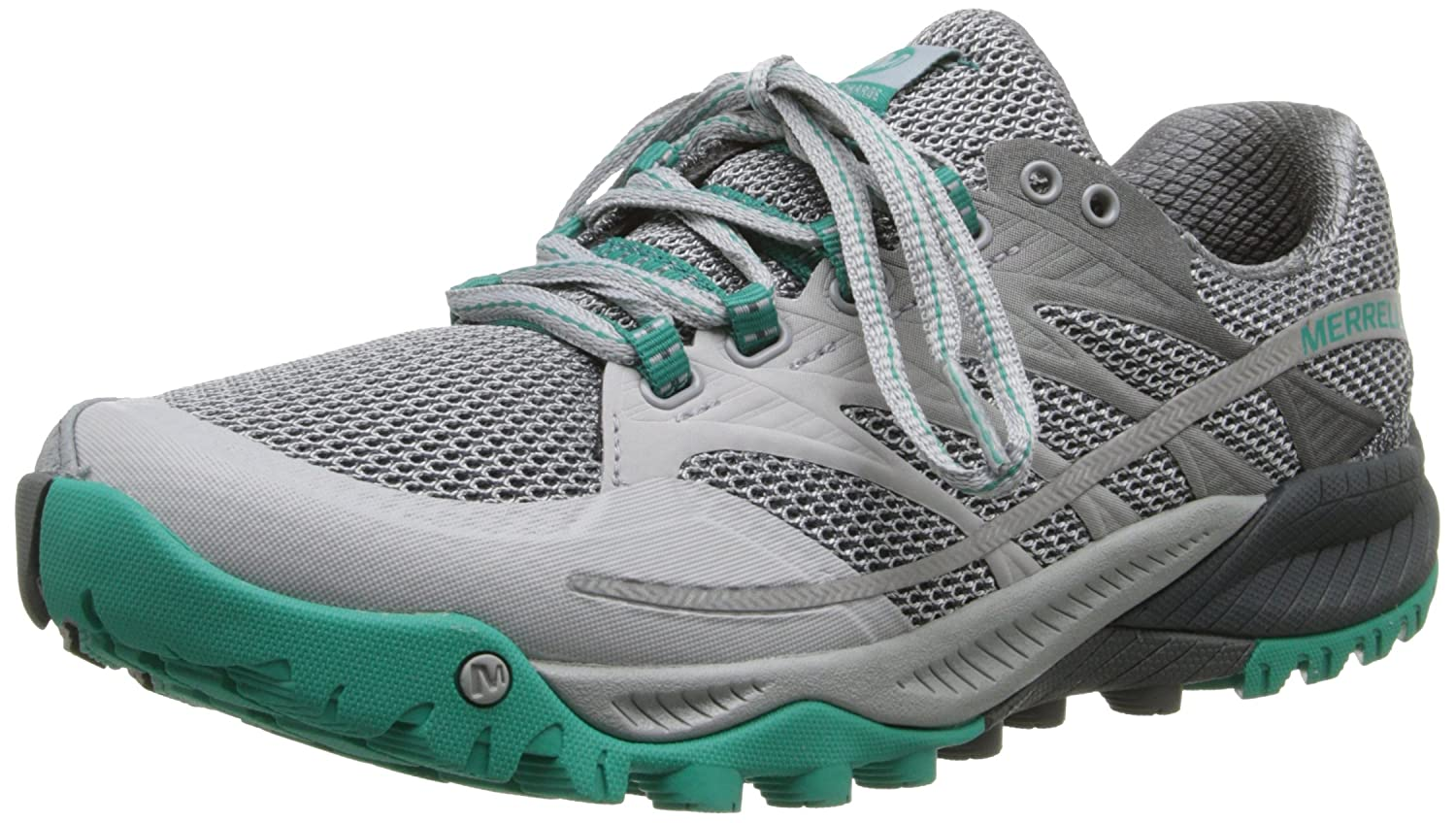 Merrell Women's All Out Charge Trail Running Shoe B00KZJ09DO 10 B(M) US|Light Grey/Dynasty Green