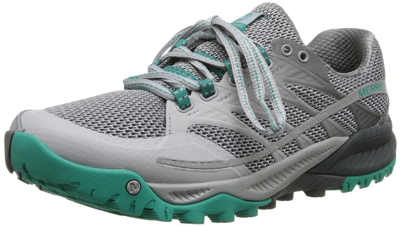 Merrell Women's All Out Charge Trail Running Shoe B00KZIZRX2 6 B(M) US|Light Grey/Dynasty Green