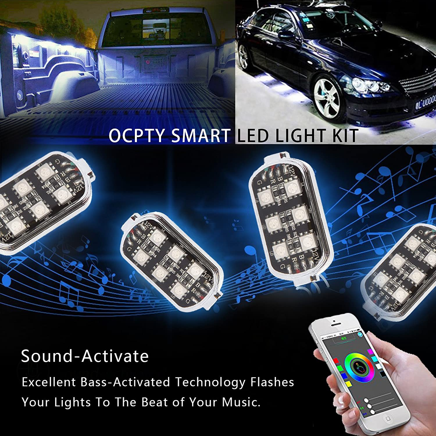OCPTY RGB Truck Bed Light Kit LED Rock Lights With Sound Activated Camera Function Wireless Remote Bluetooth Controller Universal fit for Pickup Truck RV SUV Boats Unloading Cargo Area 8pod