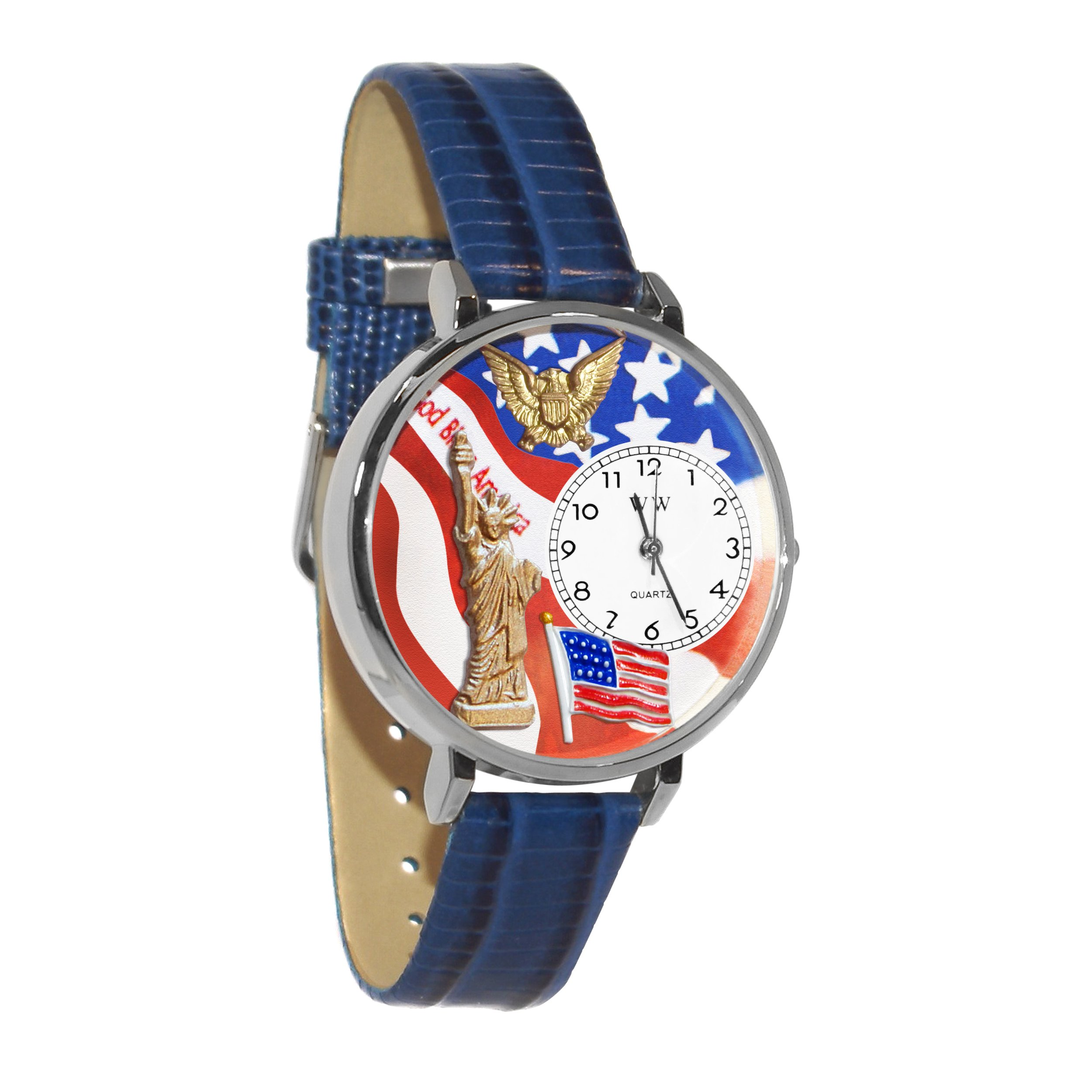 Whimsical Watches Unisex U1220022 July 4th Patriotic Navy Blue Leather Watch by Whimsical Watches (Image #1)