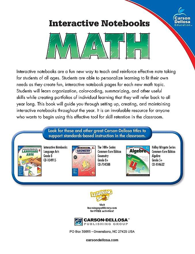 Carson-Dellosa Interactive Notebook for Math, Grade 8