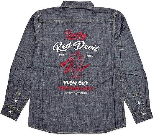 (テッドマン)TEDMAN Lucky Red Devilシャンブレー長袖シャツ TEDMAN テッドマン TSHB-1600 刺繍 デニム ロングスリーブ エフ商会 アメカジ