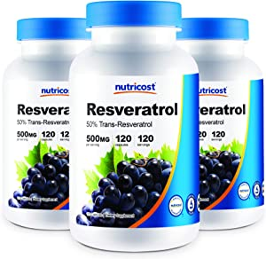 Nutricost Resveratrol 500mg; 120 Vegetable Capsules - 50% Trans-Resveratrol (3 Bottles)